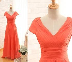 Short Sleeves V-neckline Orange Bridesmaid Dress,Custom Prom Dress