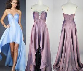 Hi-length Prom Dresses,Beaded Evening Dresses,Strapless Graduation Dresses,Sweetheart Homecoming Dresses