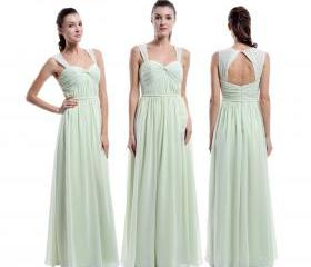 A-line Chiffon Sage Bridesmaid Dresses,Cheap Wedding Party Dresses,Formal Occasion Dress,Evening Party Dresses