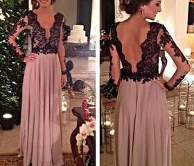 Long Sleeves Lace Prom Dresses,Deep V-neckline Graduation Dresses,Chiffon and Lace Evening Dress,Black Lace Occasion Party Dresses