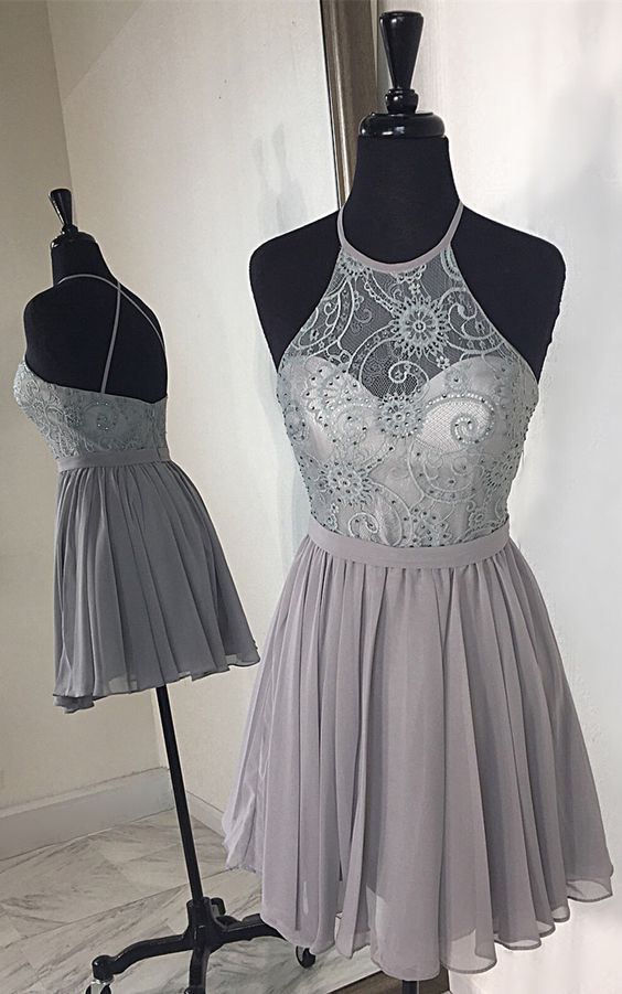 Short Girls Party Dress,Beaded Homecoming Dresses,Silver Homecoming Gowns