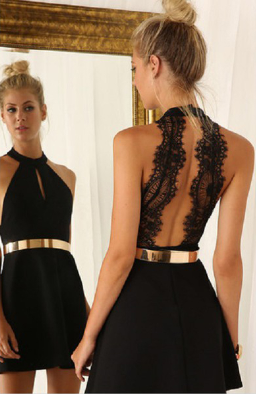Images of Open Back Party Dress - Reikian