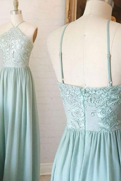 Lace Halter Neck Floor Length Chiffon A-Line Wedding Guest Dress, Bridesmaid Dress