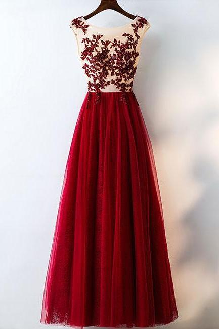 Custom Made Red High Neck Tulle Mermaid Prom Dress with Sequins