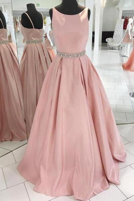 Blush Pink Sleeveless Satin Floor Length Prom Dress, Bridesmaid Dress with Beaded Waistline