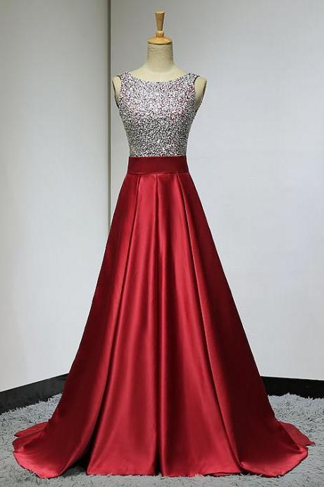 Custom Made Red Sequin Backless Satin A-Line Prom Dress