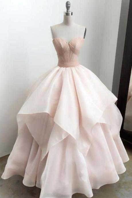 Blush Pink Sweetheart Neck Ballgown Prom Dress, Wedding Dress with Tiered Cascading Skirt Detailing
