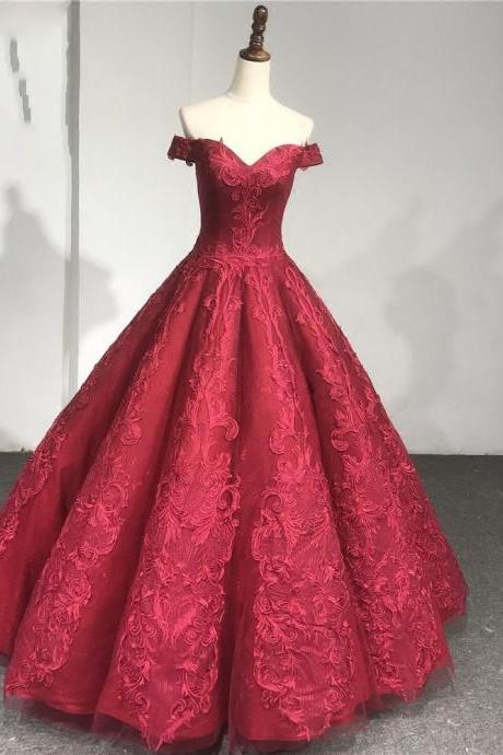 Ball Gown Burgundy Lace Wedding Dress