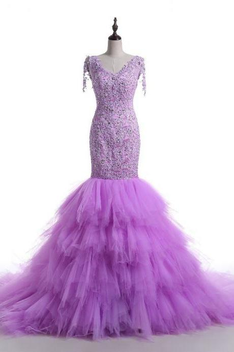 Mermaid Purple Prom Dress,Elegant V-neckline Lace Evening Dress,Mermaid Tulle Party Dress