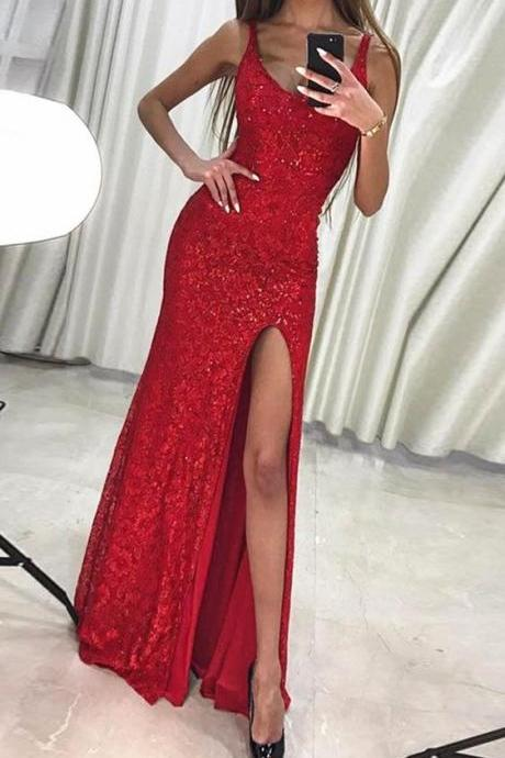 Sexy Slit Red Prom Dress,Red Slit Evening Dress,Slit Red Lace Party Dress