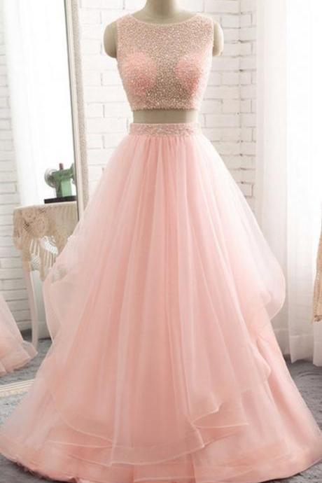 Pink Prom Dress,Two pieces Party Dress,Sexy Beaded Graduation Dress