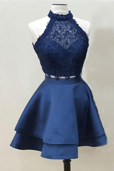 Navy Blue Homecoming Dress,Lace Homecoming Gown,Short Halter Neckline Party Dress