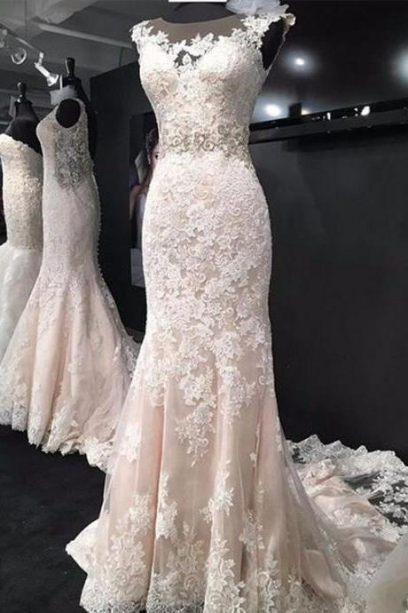 Illusion Lace Appliques Mermaid Wedding Dress with Open Back