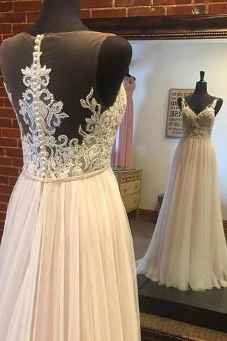 Sleeveless Illusion V-Neck Lace Appliques A-line Wedding Dress