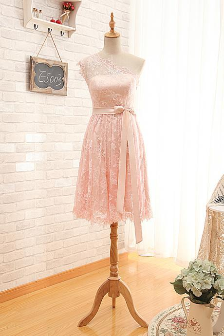 Short One Shoulder Blush Lace Bridesmaid Dress