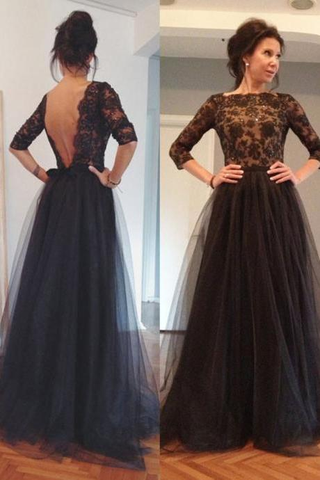 Black V-back Lace Prom Dress,Black Evening Dress,Black Tulle Prom Dress,V-back Tulle and Lace Bride of the Mother Dress
