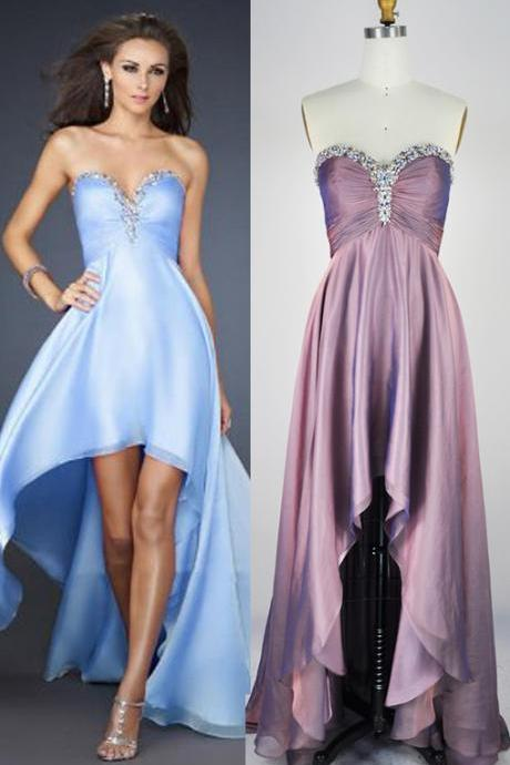 Hi-length Prom Dresses,Hi-low Evening Dresses,Strapless Graduation Dresses,Sweetheart Homecoming Dresses,Sexy Hi-low Prom Dress