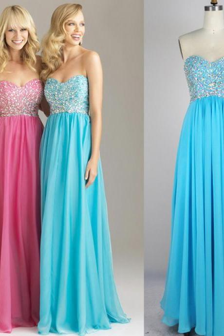 Empire Beaded Prom dresses,Strapless Graduation Dresses,Long Chiffon Sweetheart Prom Dress