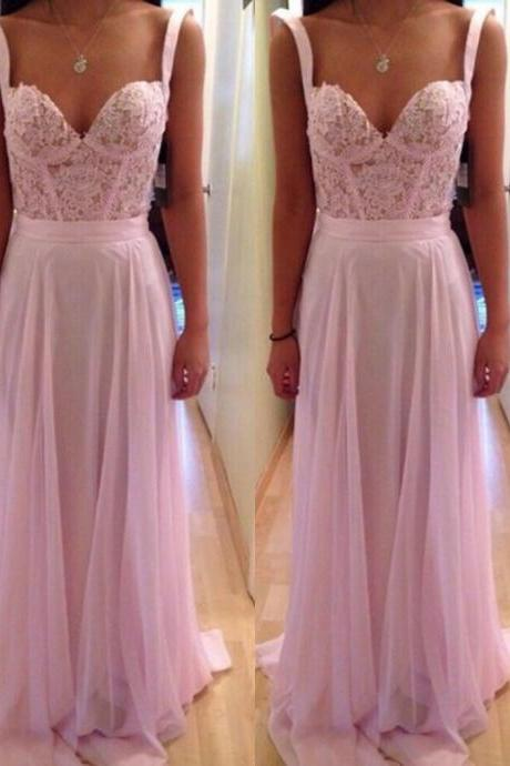 Straps Pink Lace Prom Dresses,Sweetheart Lace Graduation Dresses,Pink Evening Dress