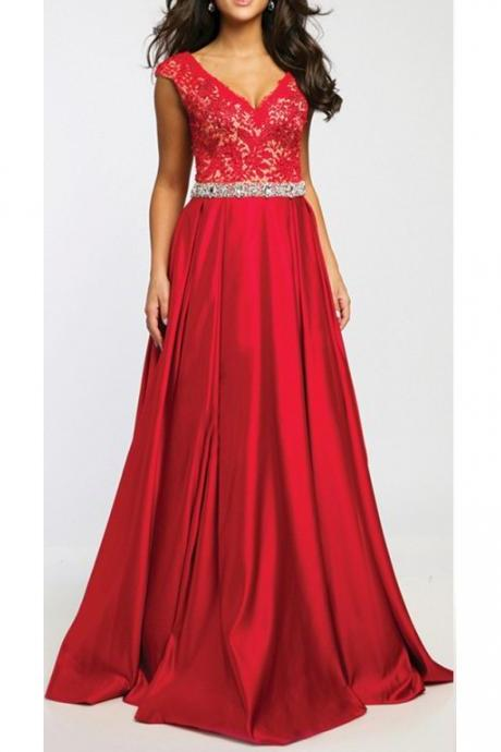 Formal V-neckline Red Prom Dresses,A-line Red Lace Party Dress,V-back Evening Dress,Sexy V-neck Prom Dress