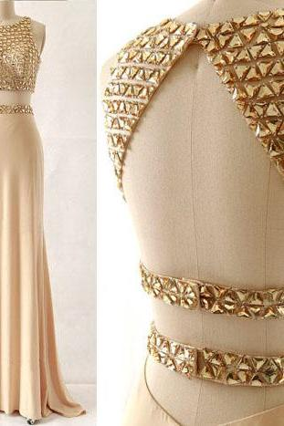 Free Shipping Sexy Two Piece Prom Dress,Beaded Keyhole Back Occasion Dress,Sexy Open back Graduation Dress,Champagne Evening Dress