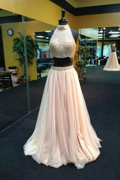 High Neck Prom Dress,Two Piece Prom Dress,Blush Tulle Prom Gown,Halter Party Dress,Beaded Prom Dress,Beaded Two Piece Graduation Dress