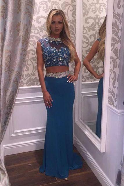Two Piece Prom Dress,Beaded Prom Gowns,Sexy Keyhole Back Prom Dresses,Sexy Two Piece Graduation Dress,Mermaid Prom Dress