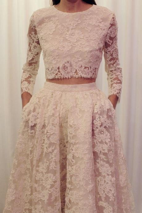 Two Pieces Long Sleeves Lace Wedding Dress,Two Pieces Wedding Dresses,Long Sleeves Lace Bridal Dress,Wedding Dress 2016