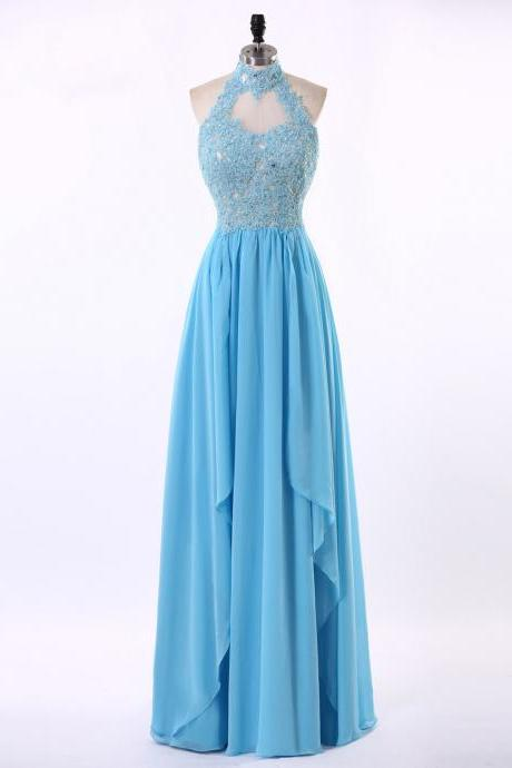 Halter Neckline Prom Dress,Keyhole Back Lace Prom Gown,Blue Lace Graduation Dress,Halter Neckline Blue Lace Party Dress