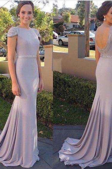 Sexy Open Back Celebrity Dresses,Cap Sleeves Formal Dress,Sexy Mermaid Evening Dress,Cap Sleeves Bridesmaids Dresses