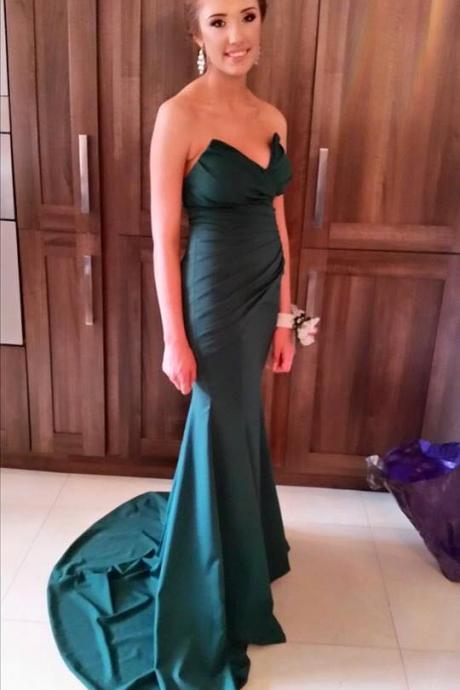 Mermaid Green Party Dress,Sexy Sweetheart Formal Dresses,Strapless Green Prom Dresses,Mermaid Prom Gowns