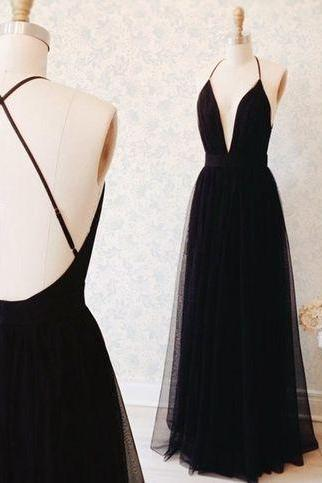 Black Spaghetti Straps Prom Dress,Open Back Graduation Dresses,Sexy Backless Party Dress,Black Occasion Dresses
