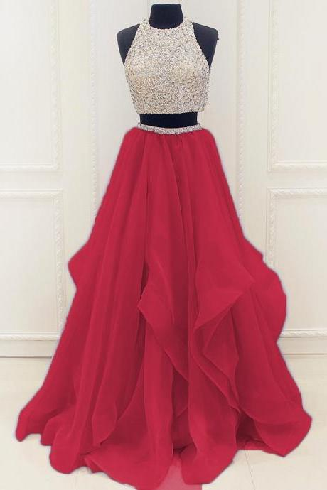 Fashion Two Pieces Beaded Deep Red Organza Prom Dresses