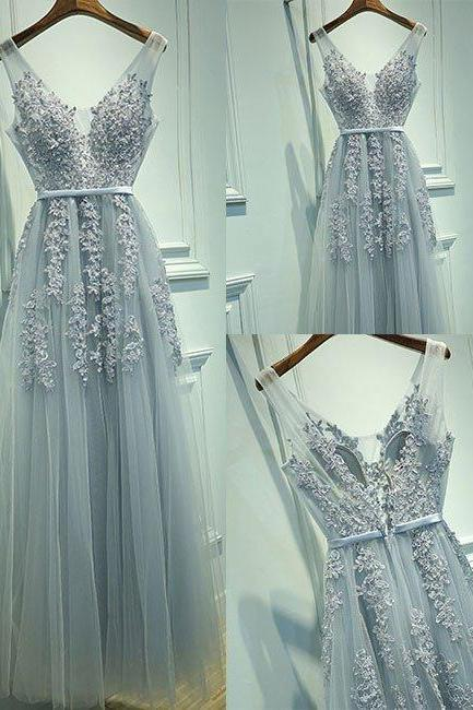 A line Gray Tulle Prom Dress,Sexy V Neck Lace Prom Dress,Full Length Lace Evening Dress