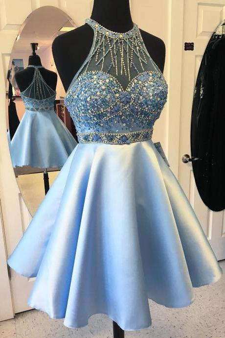 Short Beaded Prom Dress,Sexy Open Back Homecoming Dress,Short Halter Neckline Evening Party Dress,Blue Graduation Dress