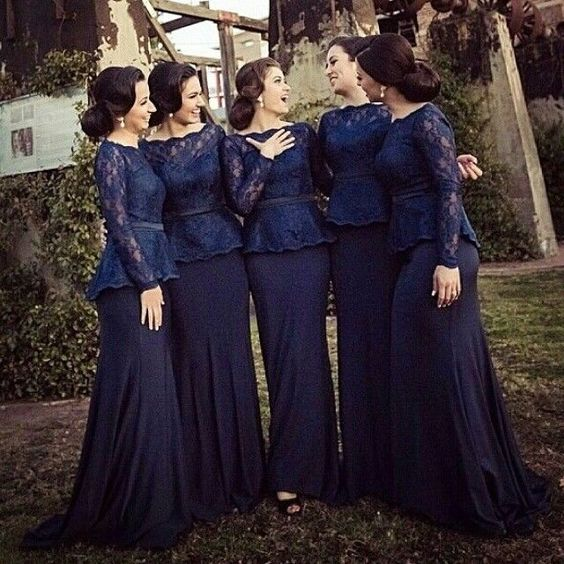 Mermaid Bridesmaid Dress,Long Sleeves Lace Bridesmaid Gown,Dark Navy Lace Wedding Guest Dress,Mermaid Lace Mother of Bride Dress