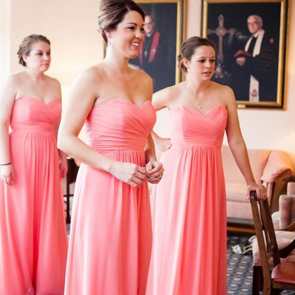 Discount Empire Bridesmaid Gown,A line Bridesmaid Dress,Coral Bridesmaid Dress