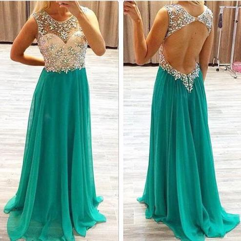 Free Shipping Beaded Open Back Prom Dress,Sexy Evening Dress,Formal Green Beaded Graduation Dress,Green Sexy Prom Dress