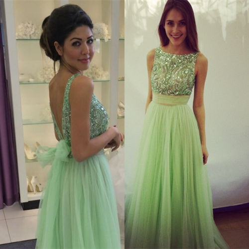 Sexy Open Back Prom Dress,V-back Beaded Graduation Dress,Tull Evening Dress,Green Tulle Beaded Prom Gown
