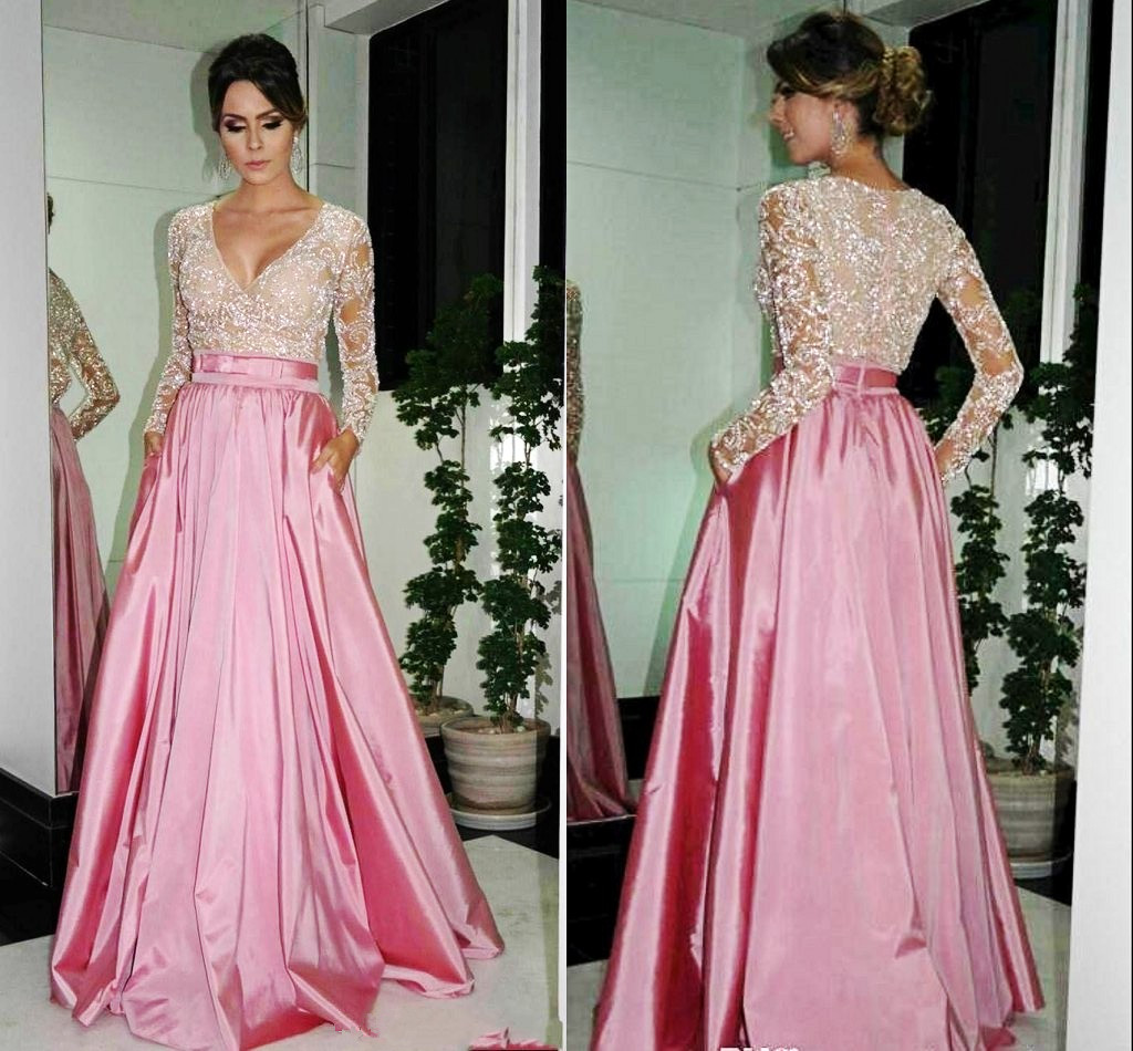 Free Shipping Long Sleeves Lace Prom Dress Deep V neck